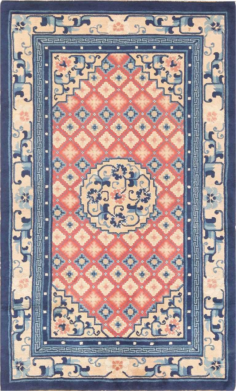 Small Coral Color Antique Chinese Rug #49973 from Nazmiyal Antique Rugs in NYC