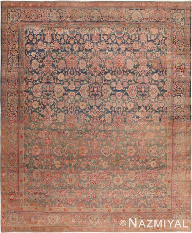 Blue Abrash Antique Persian Kerman Rug #49697 - Nazmiyal
