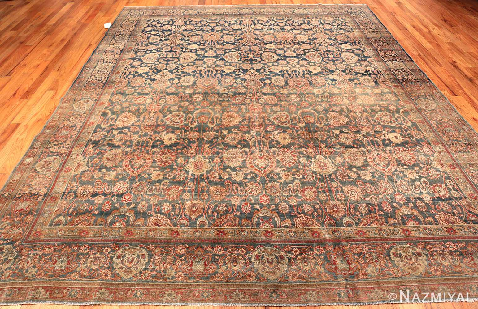 Blue Abrash Antique Persian Kerman Rug #49697 - Nazmiyal