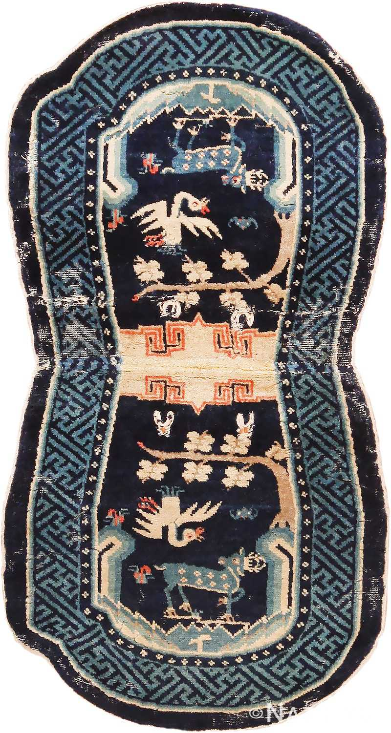 Blue Antique Chinese Horse Cover Saddle Blanket #49968 from Nazmiyal Antique Rugs in NYC