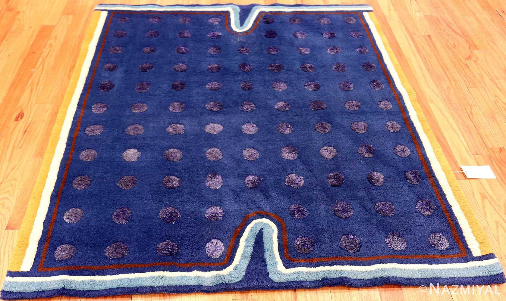 Blue Square Silk and Wool Garo Antreasian Art Rug #49950 - Nazmiyal