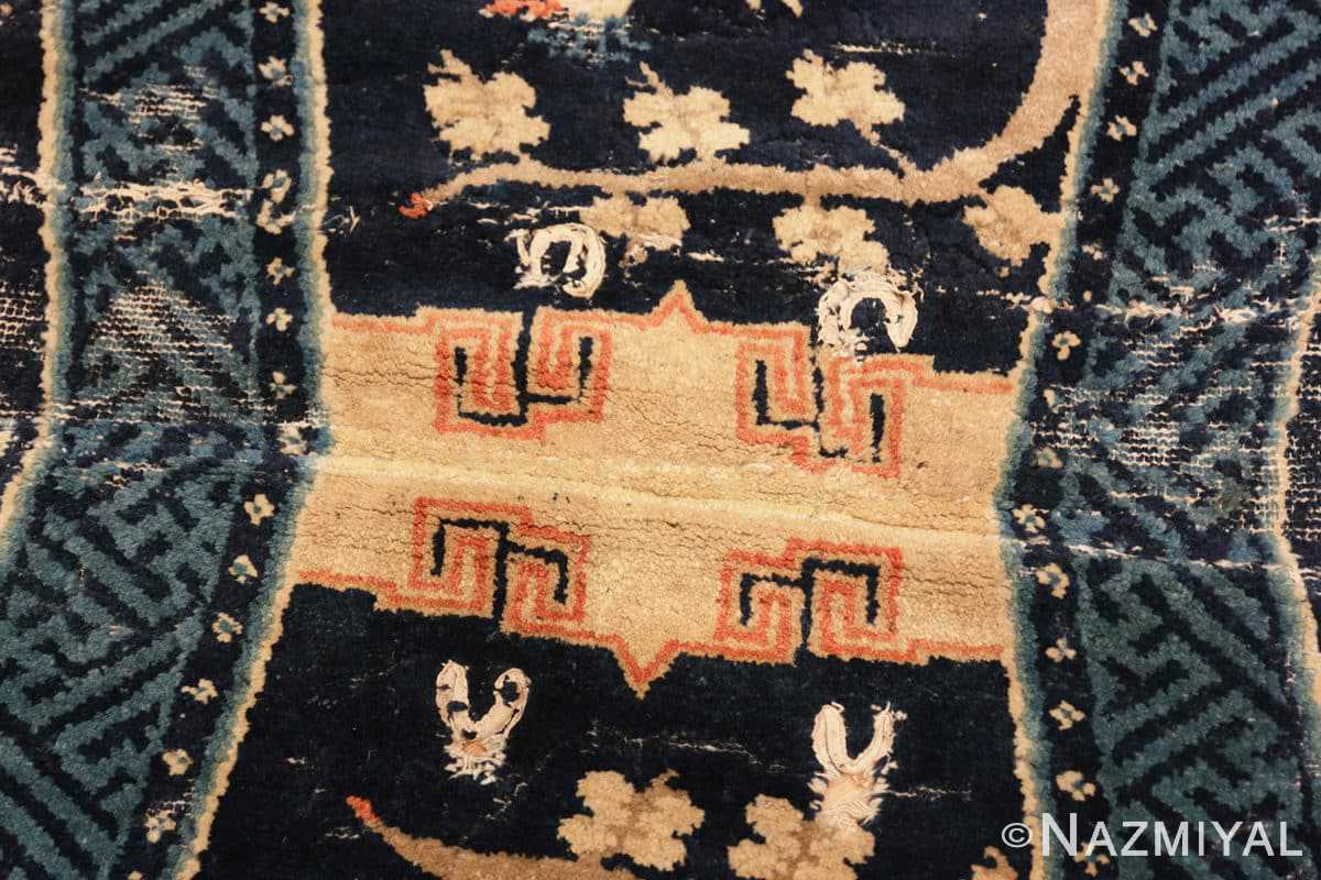 Center Antique Chinese Horse Cover Saddle Blanket 49968 by Nazmiyal