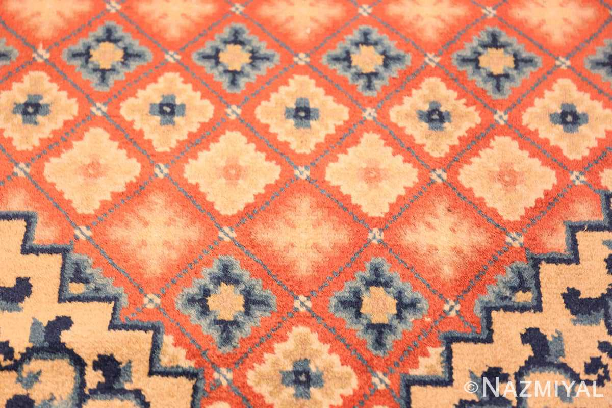 Close-up Small Coral color Antique Chinese rug 49973 by Nazmiyal