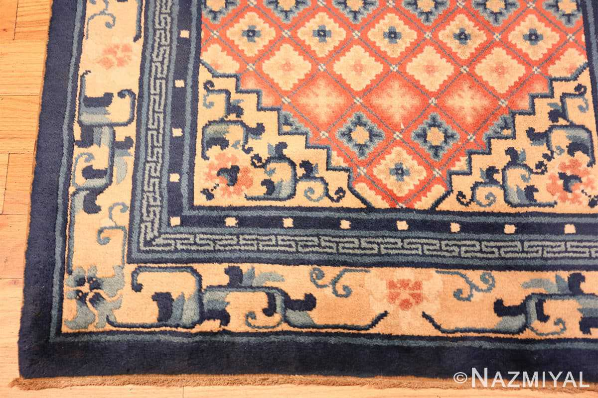 Corner Small Coral color Antique Chinese rug 49973 by Nazmiyal