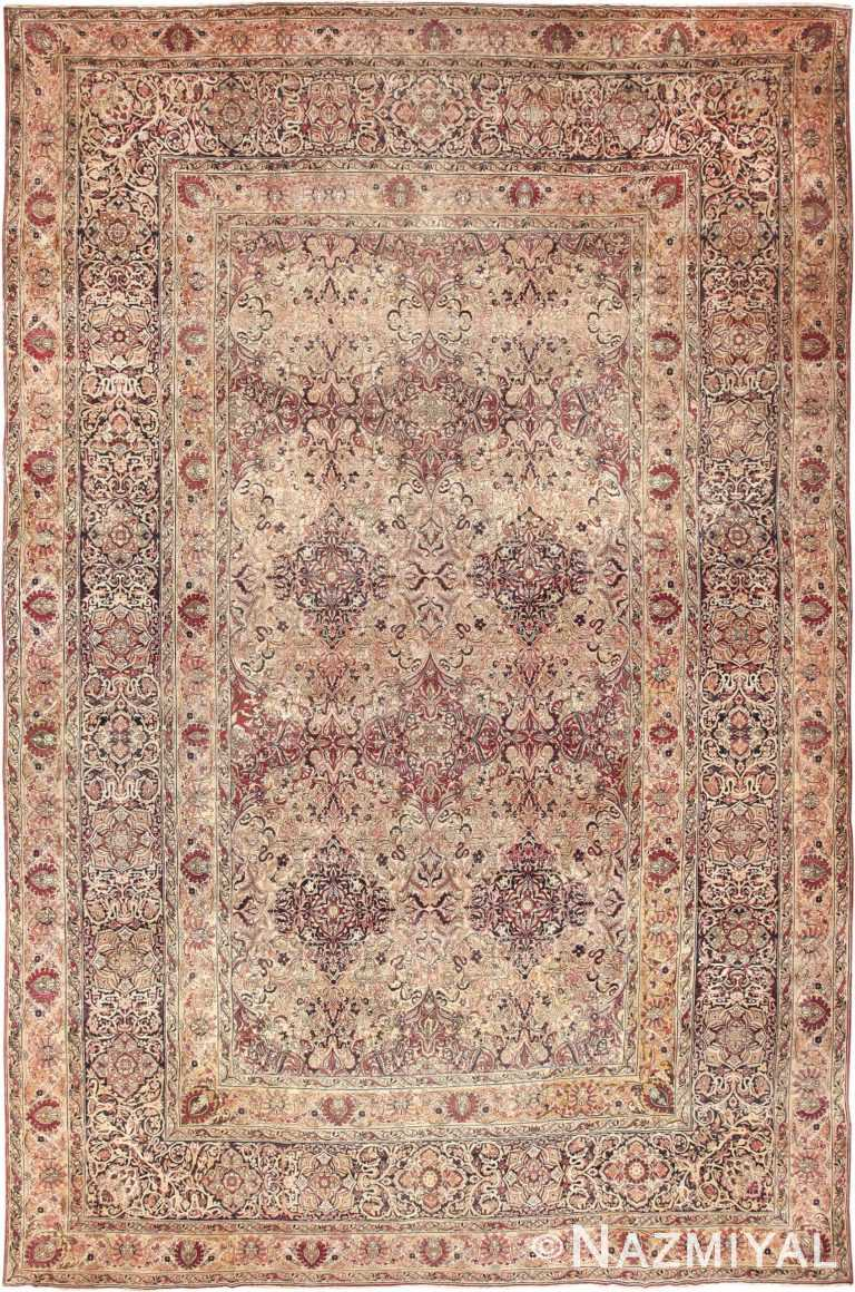 Cream Mauve Large Floral Antique Persian Kerman Rug #49953 - Nazmiyal