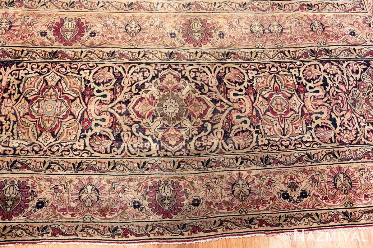 Cream Mauve Large Floral Antique Persian Kerman Rug #49953 - Nazmiyal