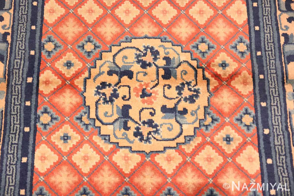 Field Small Coral color Antique Chinese rug 49973 by Nazmiyal