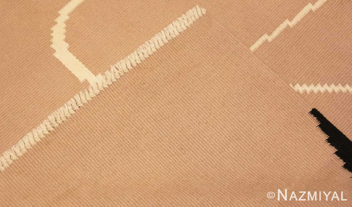 Picture of the weave of the Black And Cream Flat Woven Vintage French Art Deco Rug 49929