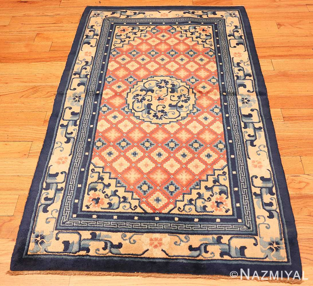 Full Small Coral color Antique Chinese rug 49973 by Nazmiyal