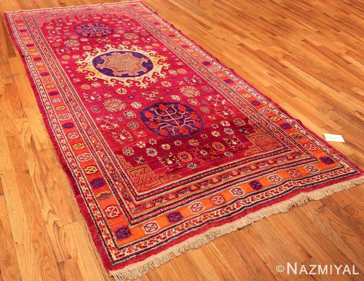 Funky Vintage Purple Silk Pomegranate Khotan Rug #49982 Nazmiyal