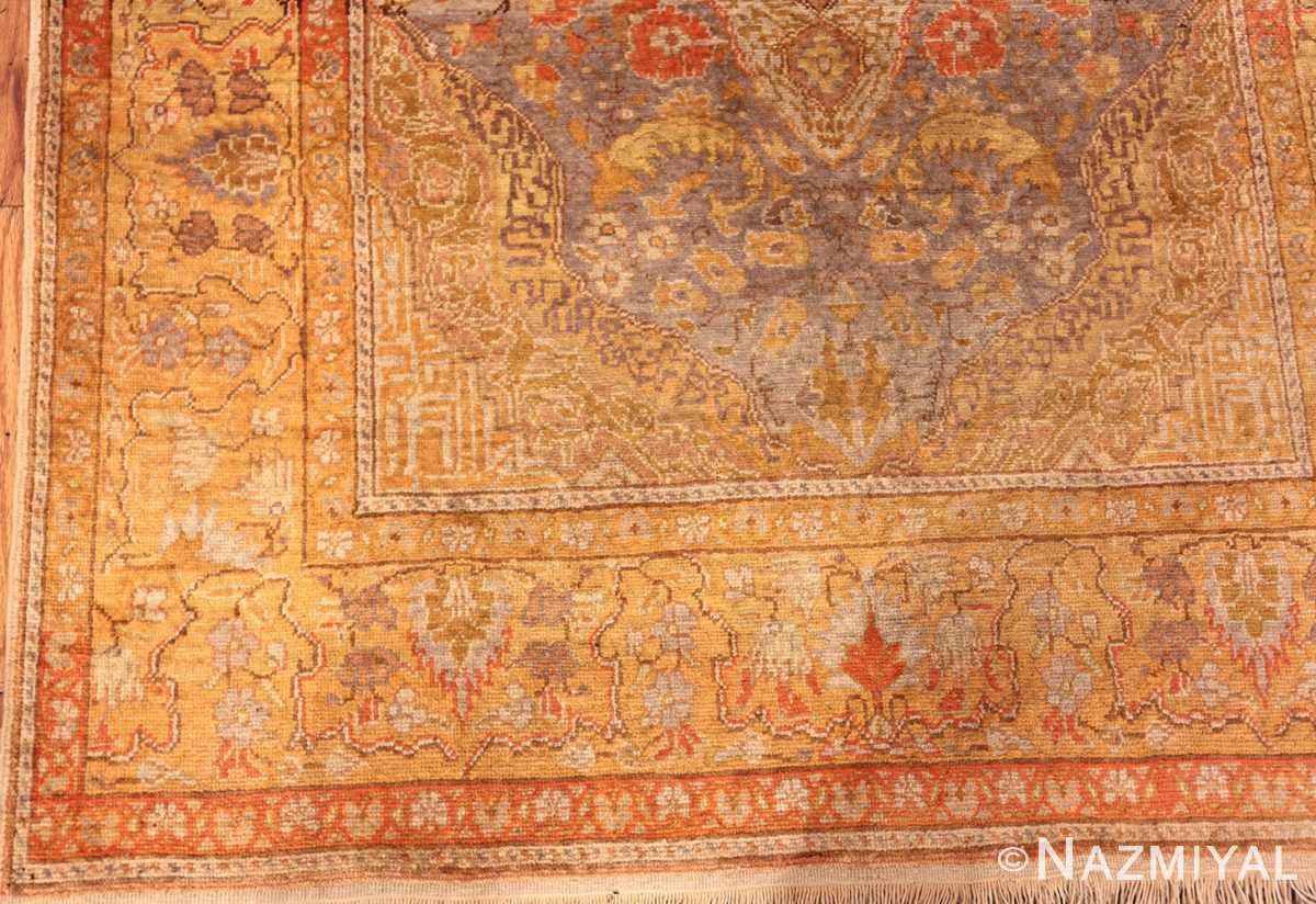 Gold Coral Small Antique Silk Turkish Kayseri Rug #49966 - Nazmiyal
