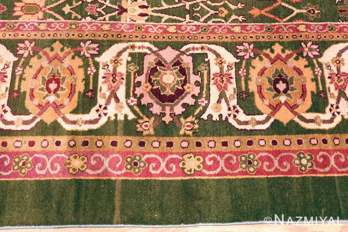 Large Green Animal Motif Antique Indian Agra Rug #49960 -Nazmiyal