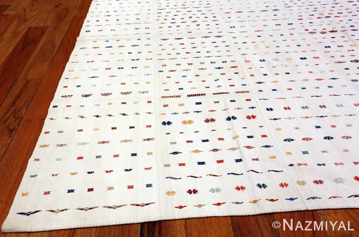 Ivory Antique Square Tribal caucasian Shahsavan Jajim #49933 from Nazmiyal Antique Rugs in NYC