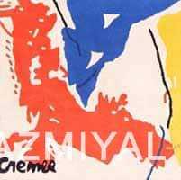 Vintage Yellow Black Red Blue Artist Jan Cremer Art Rug #49943 Nazmiyal