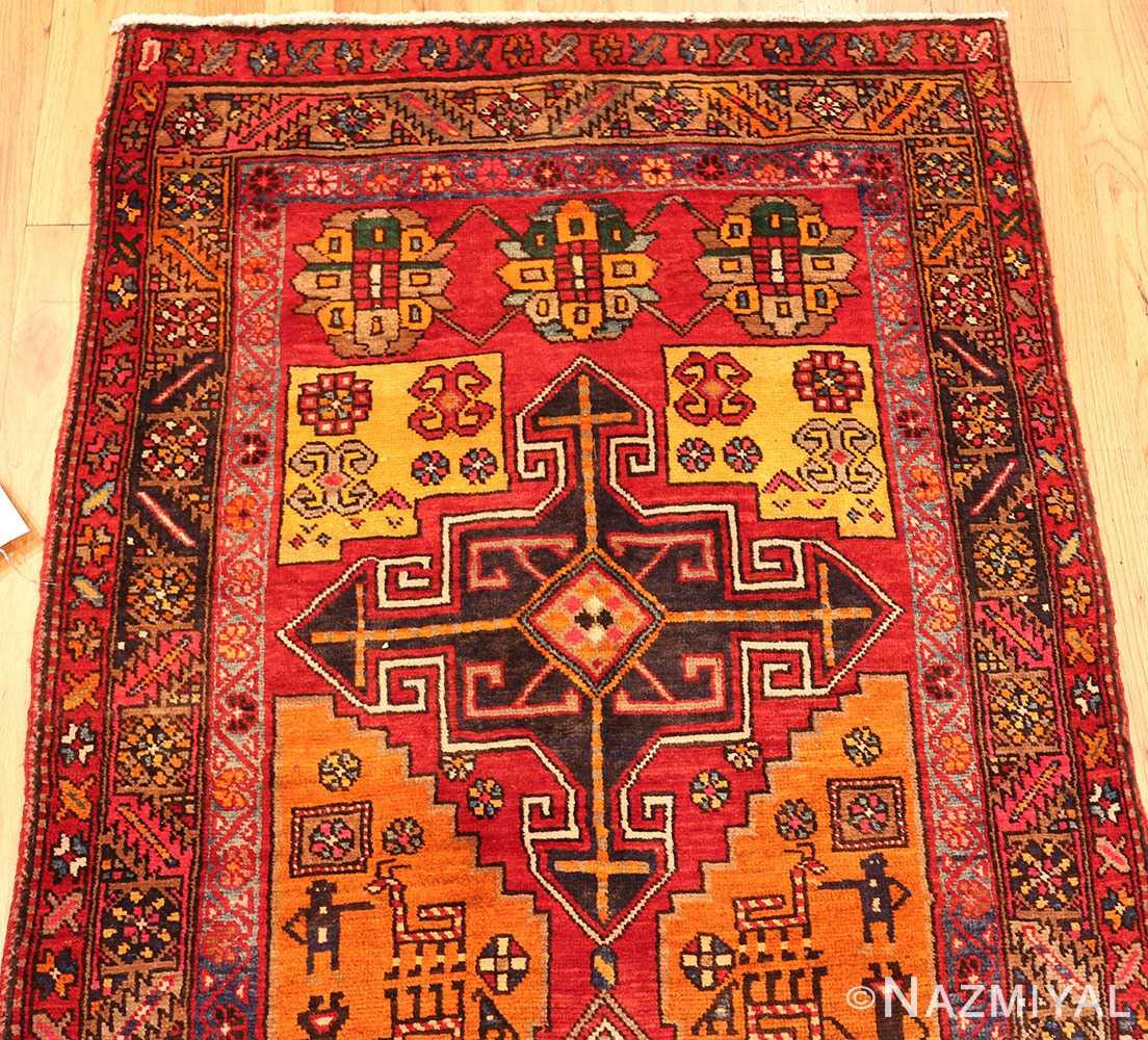 Vintage Persian Rugs: Red Geometric Vintage Persian Heriz Runner Rug 49978 By