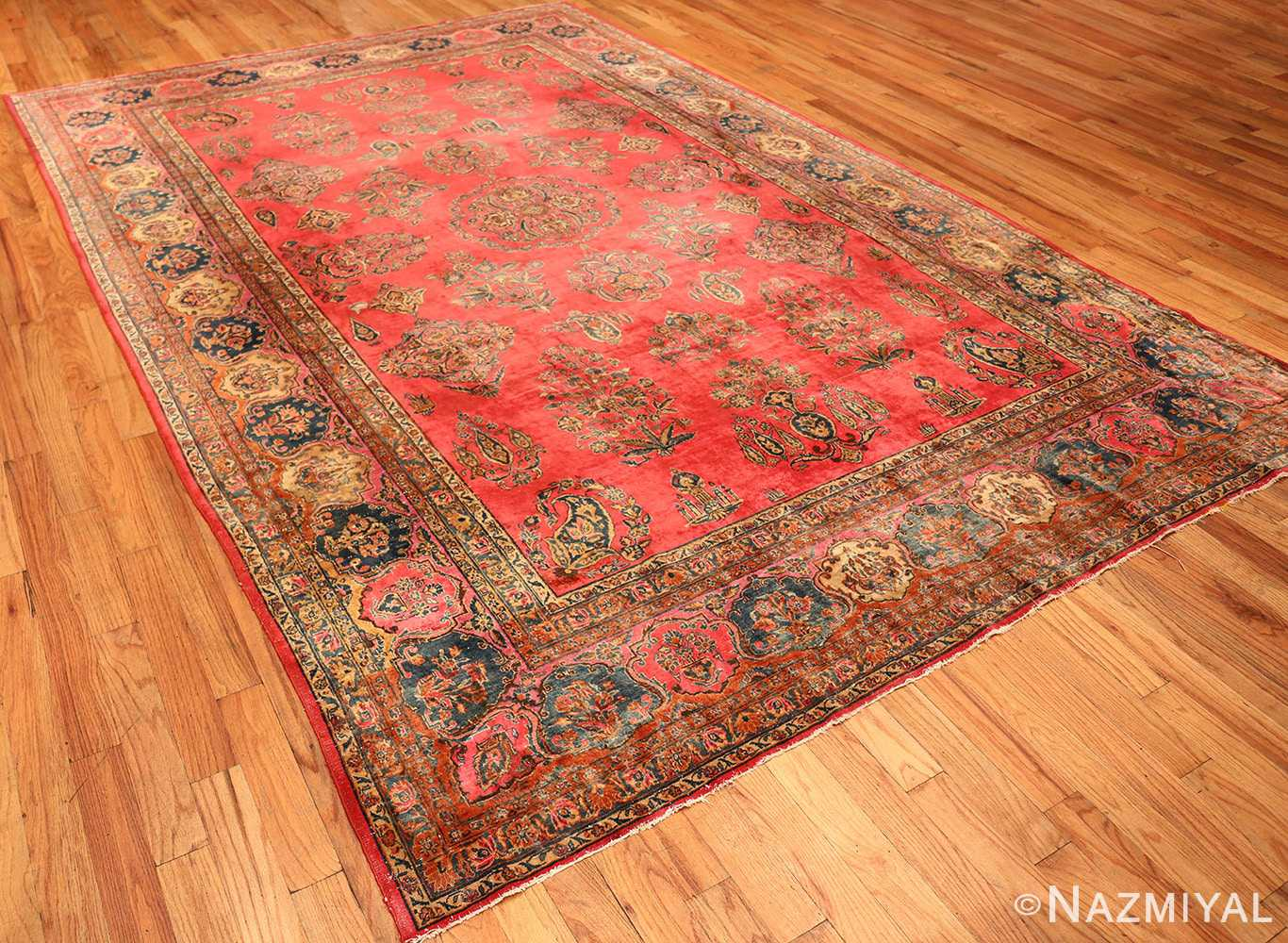Red Room Size Antique Persian Kashan Rug #49905 from Nazmiyal Antique Rugs in NYC