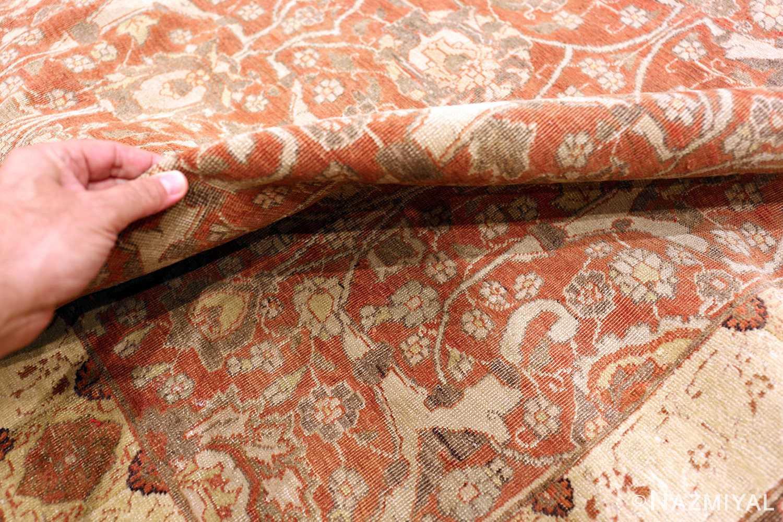Room Size Rust Color Antique Persian Tabriz Rug #49951 - Nazmiyal