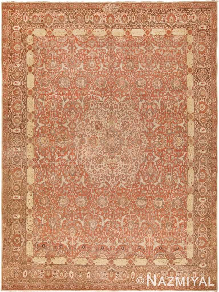 Room Size Rust Color Antique Persian Tabriz Rug #49951 - Nazmiyal