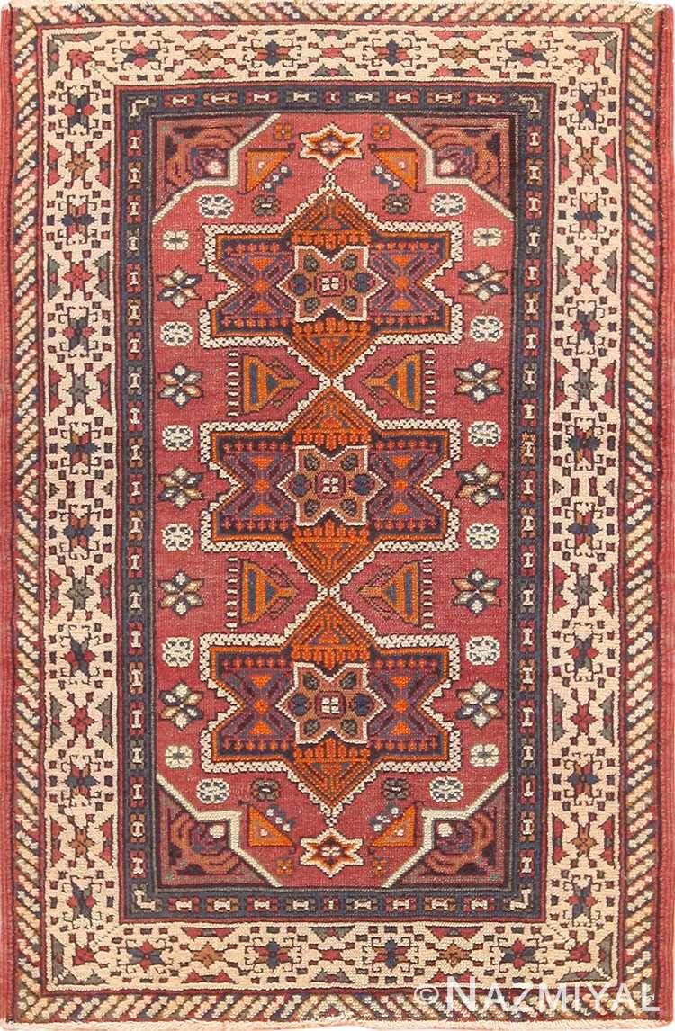 Small Antique Geometric Israeli Bezalel Rug 49975 from Nazmiyal