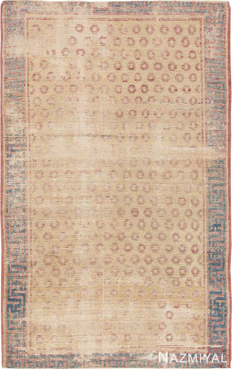 Small Tribal Antique Distressed Shabby Chic Khotan Rug #49969 from Nazmiyal Antique Rugs in NYC