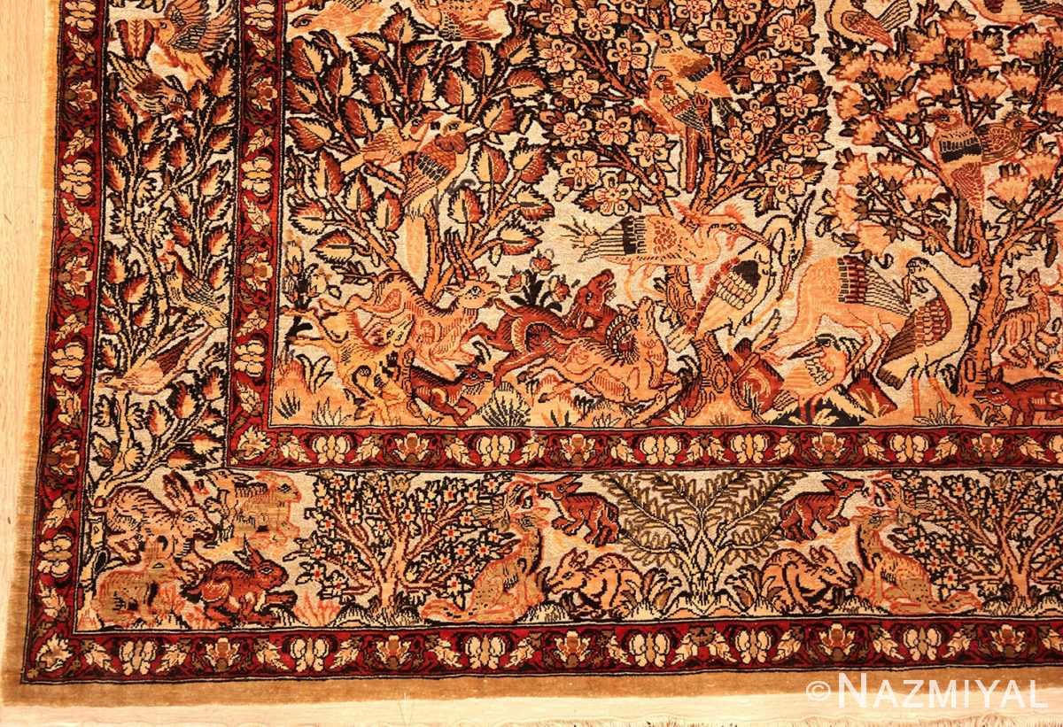 Small Vintage Silk Metallic Turkish Hereke Animal Rug #49991 from Nazmiyal Antique Rugs in NYC.