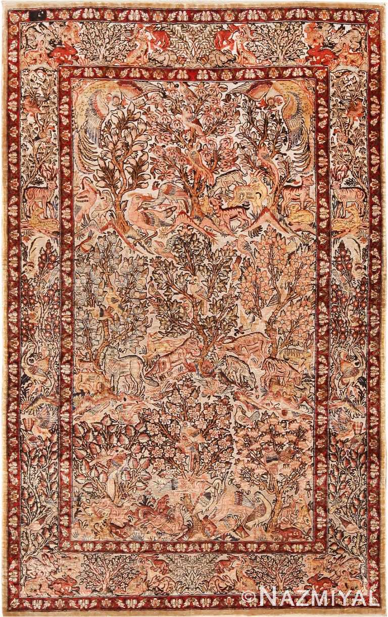 Small Vintage Silk Metallic Turkish Hereke Animal Rug #49991 from Nazmiyal Antique Rugs in NYC.