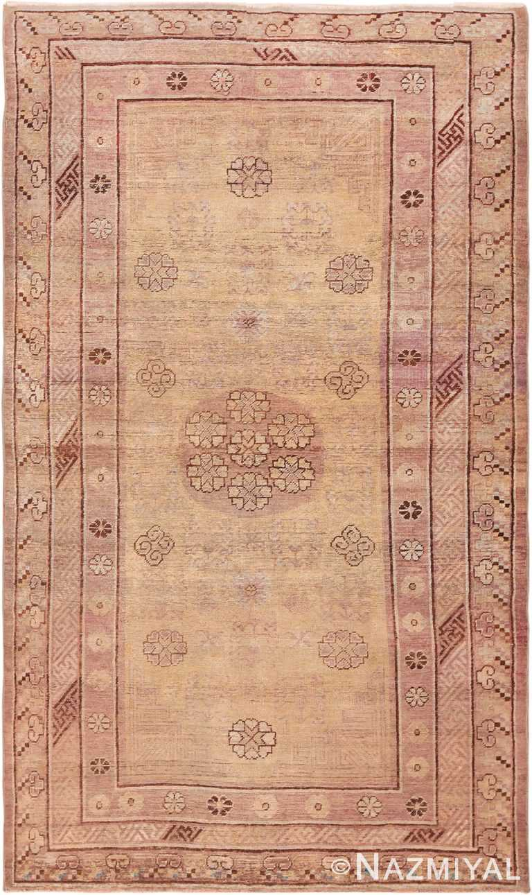 Soft Yellow and Mauve Antique Khotan East Turkestan Rug #49925 - Nazmiyal