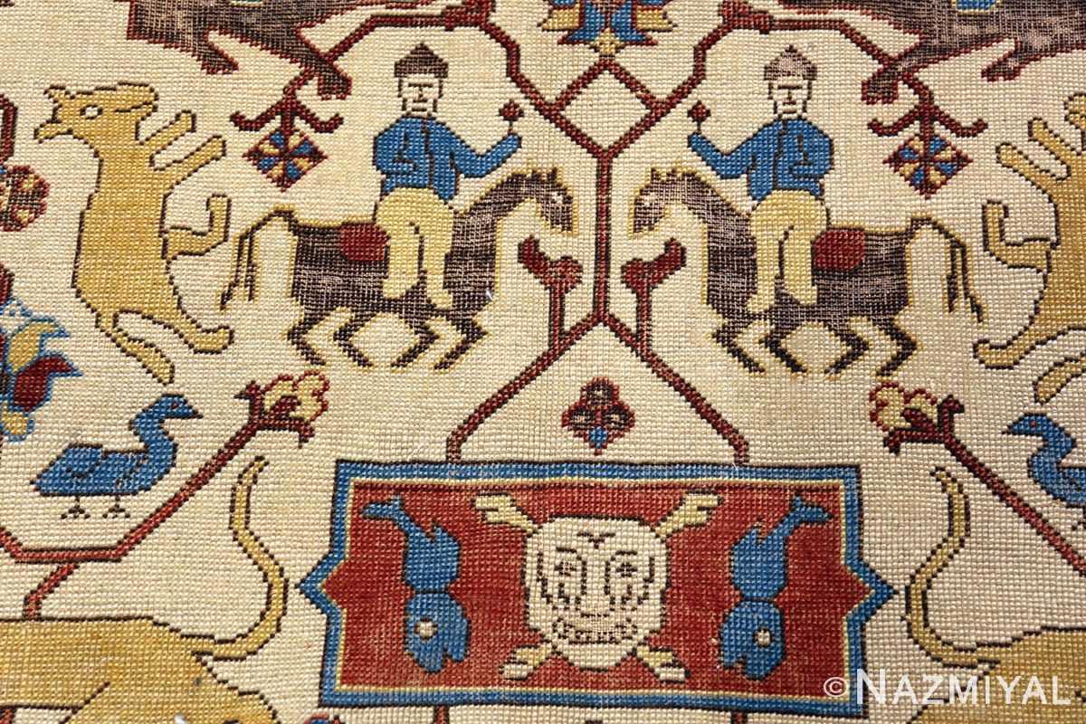 Tribal Ivory Antique Turkish Tuduc Hunting Rug #49957 - Nazmiyal