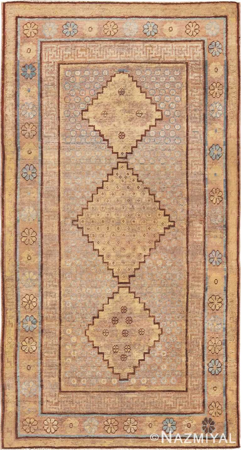 Small Earth Tone Tribal Animal Pelt Antique Khotan Rug #49977 Nazmiyal