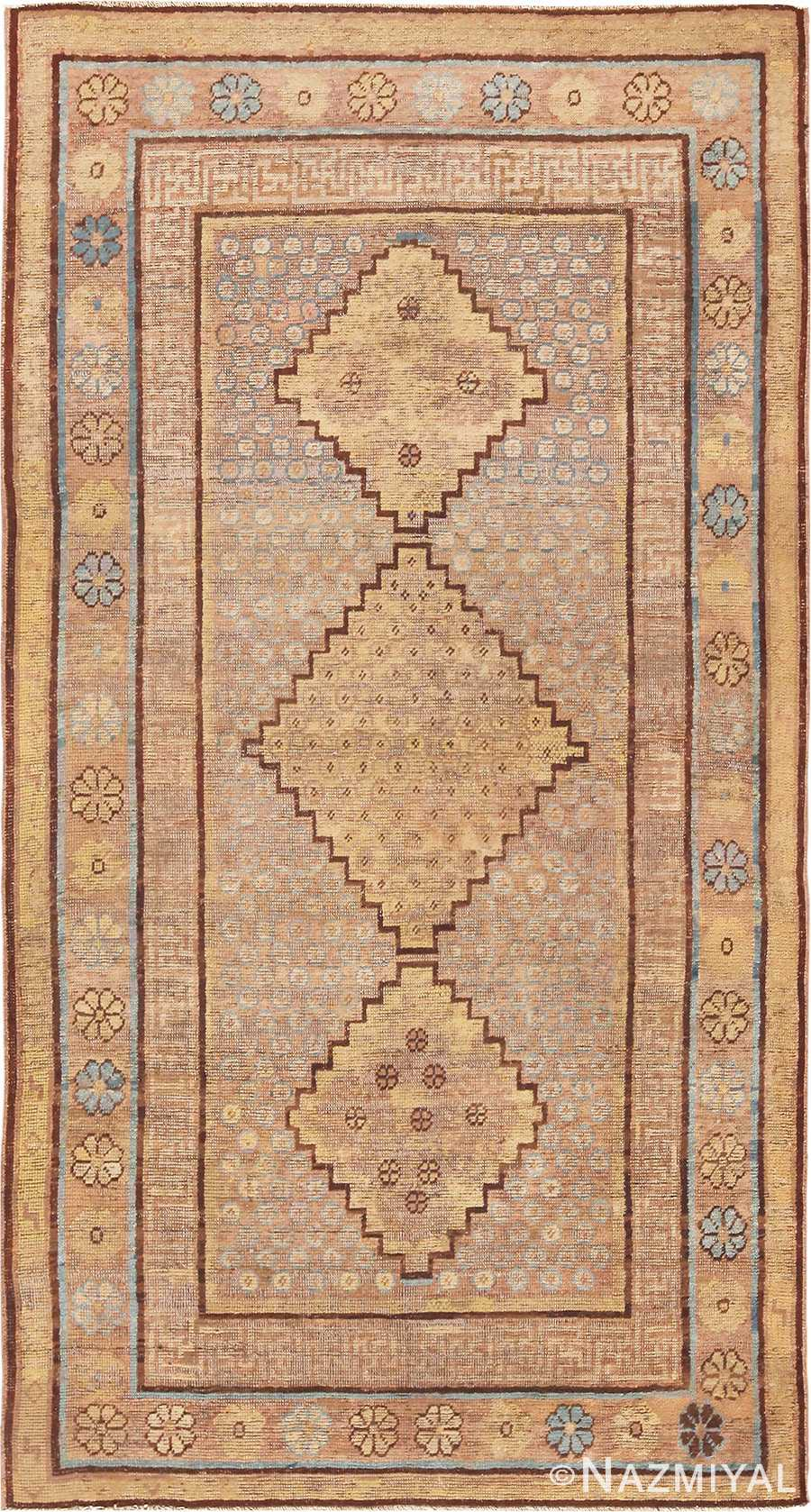 Small Earth Tone Tribal Animal Pelt Antique Khotan Rug #49977 Nazmiyal