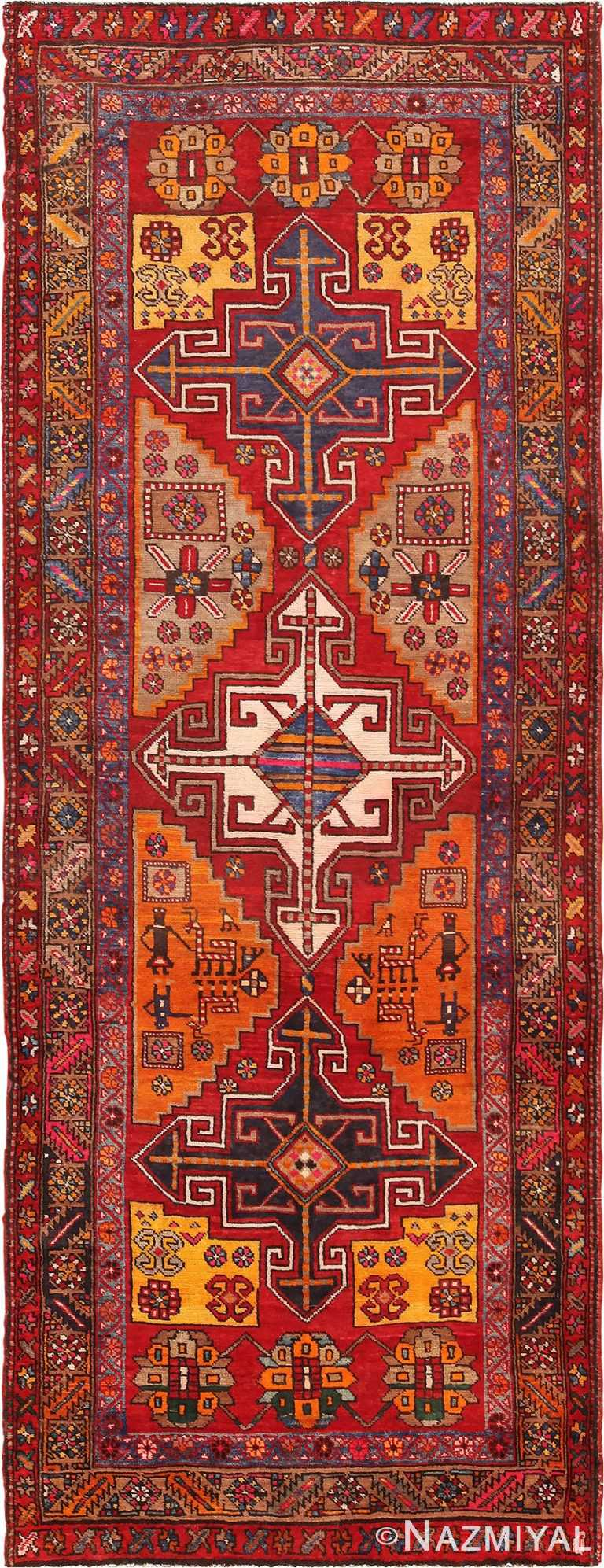 Red Geometric Vintage Persian Heriz Runner Rug #49978 from Nazmiyal Antique Rugs in NYC