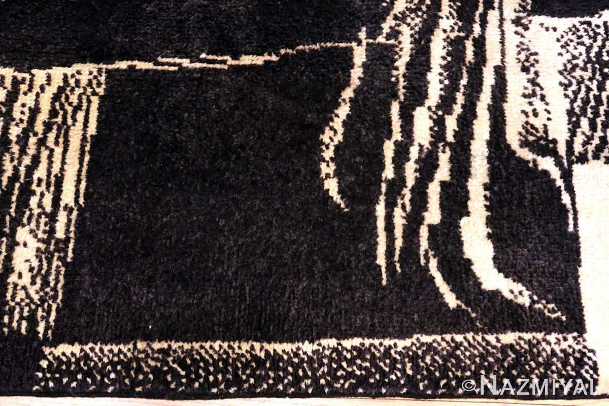 Vintage Black Cream French Art Deco Rug #49932 - Nazmiyal