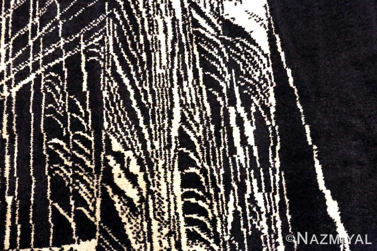 The Patterns Close Up Of Vintage Black Cream French Art Deco Rug