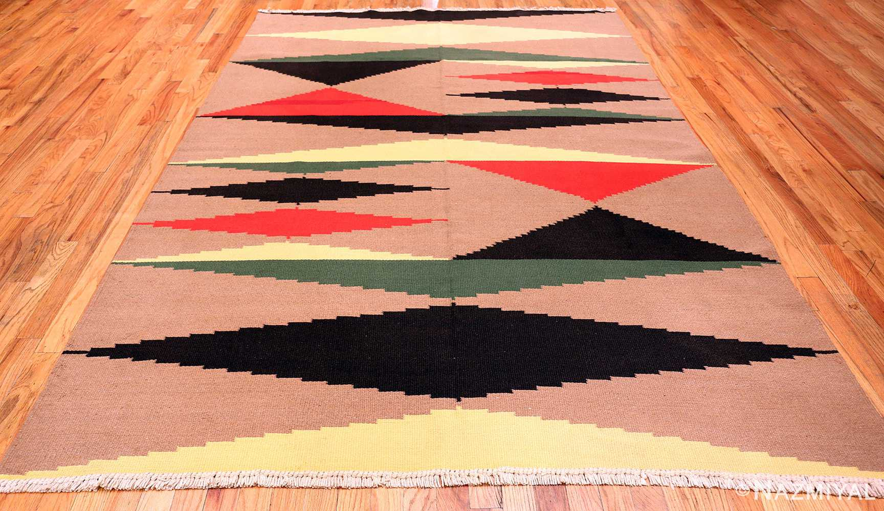 Black Red Yellow Green Cream French Art Deco Kilim 49931 Nazmiyal