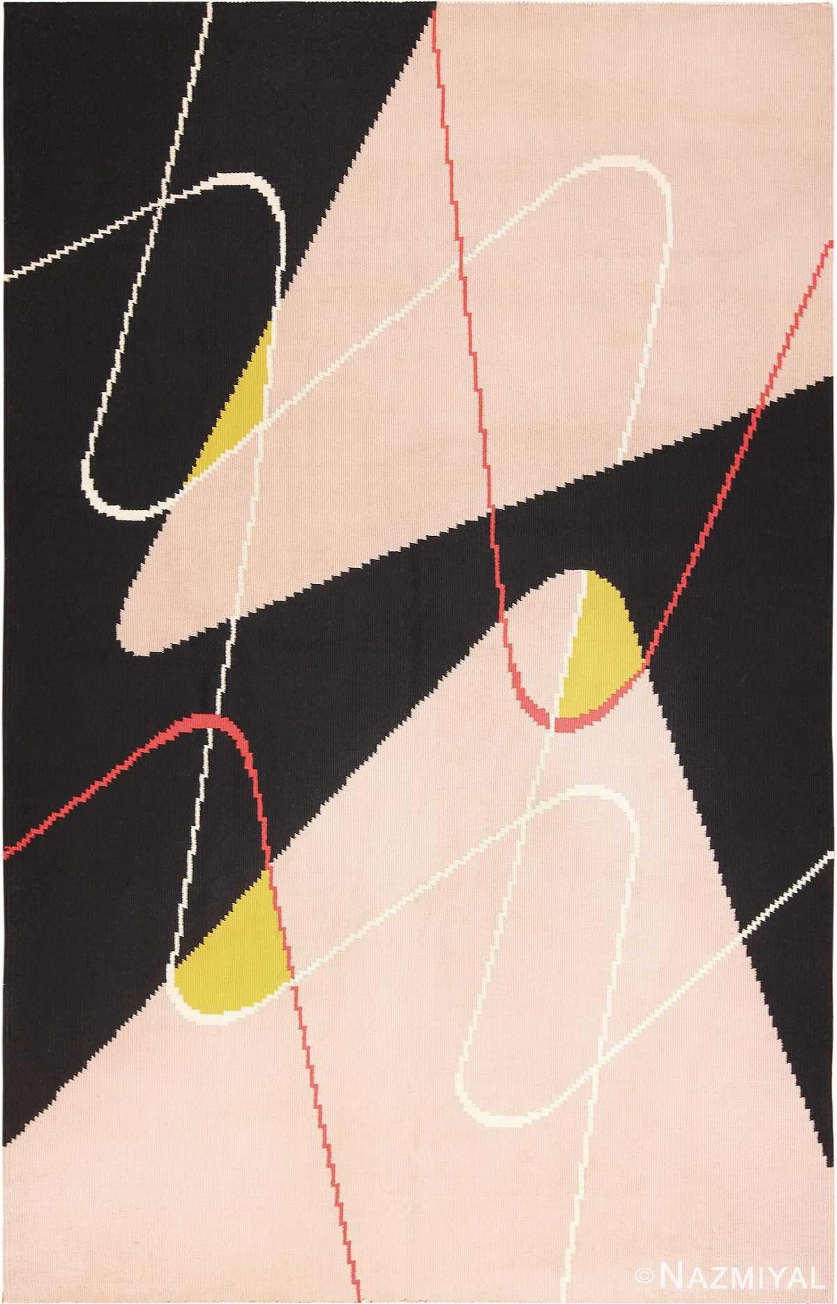 Black Cream Flat Woven Vintage French Art Deco Rug #49929 - Nazmiyal