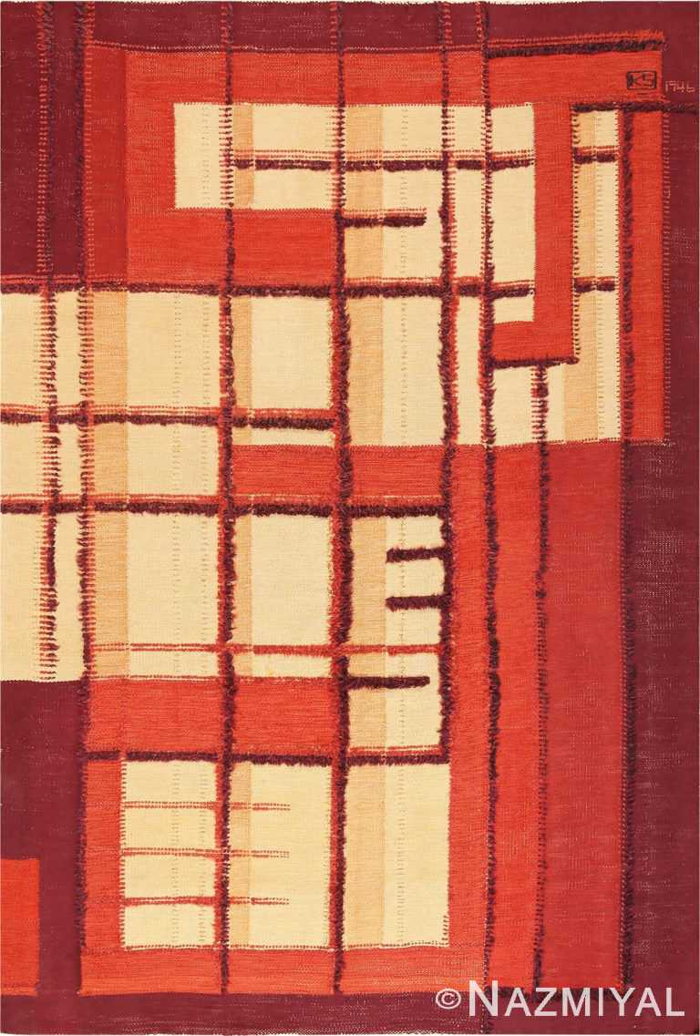Vintage Geometric Swedish Scandinavian Flat Woven Rug #49956 from Nazmiyal Antique Rugs in NYC.