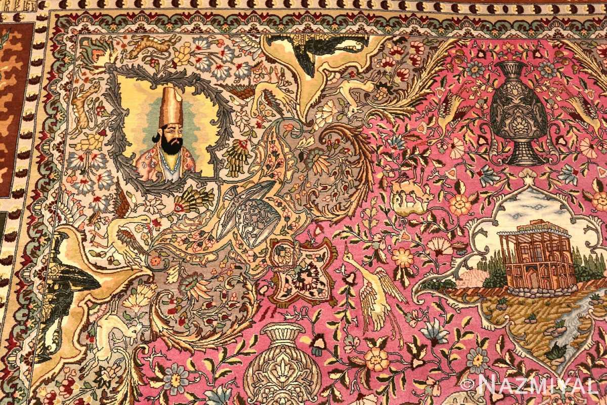 Vintage Purple Persian Pictorial Tabriz Medallion Rug #49906 - Nazmiyal