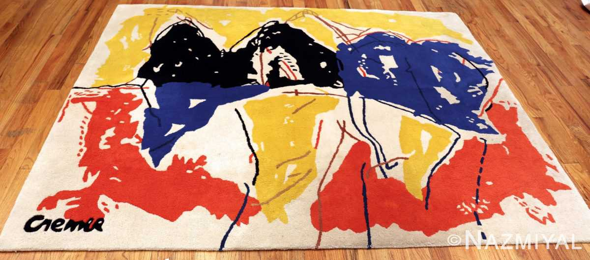 Vintage Yellow Black Red Blue Artist Jan Cremer Art Rug #49943 Nazmiyal