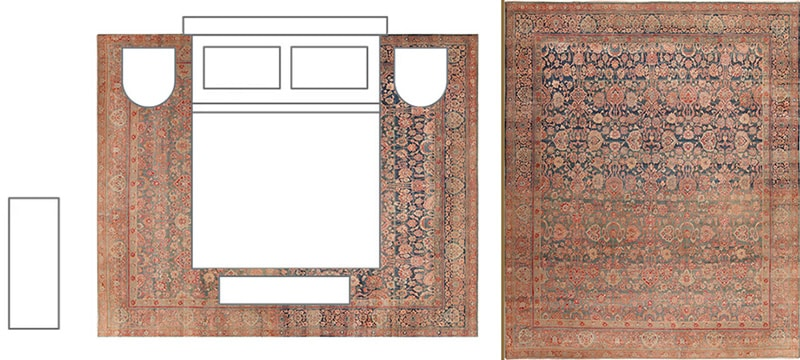 Bedroom Layout With Rug Positioned Under The Entire Bed and Night Stands - Nazmiyal