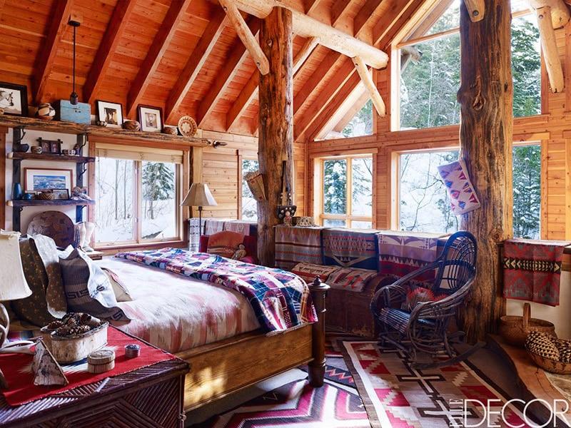 Casual Bedroom Decor With Layered Navajo Rugs - Nazmiyal