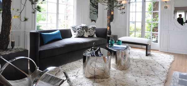 Grey Sofa and Shag Moroccan Rug - Nazmiyal