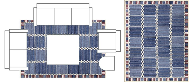 Living Room Layout With Front Legs of The Couch and Tables Positioned On The Rug - Nazmiyal