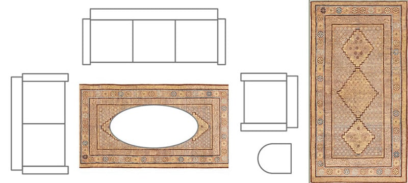 Living Room Layout With Rug Placed Just Under The Coffee Table - Nazmiyal