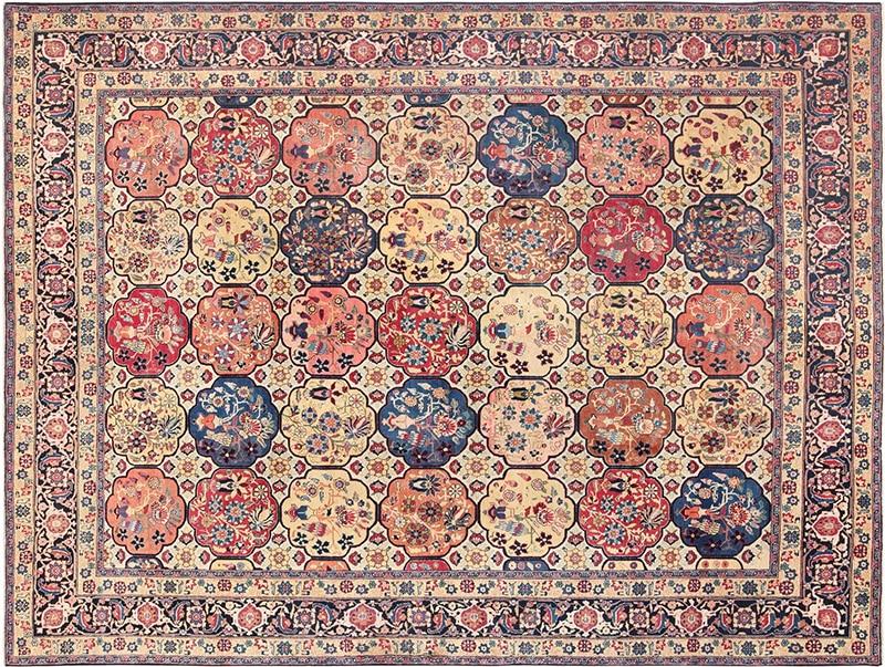 Rectangular Antique Persian Tabriz Rug - Nazmiyal