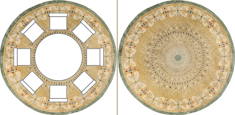 Round Dining Room Table Layout With A Round Rug Positioned Underneath - Nazmiyal