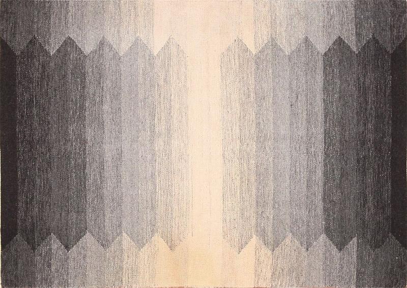 Small Vintage Geometric Scandinavian Grey Color Kilim Rug #49955 - Nazmiyal