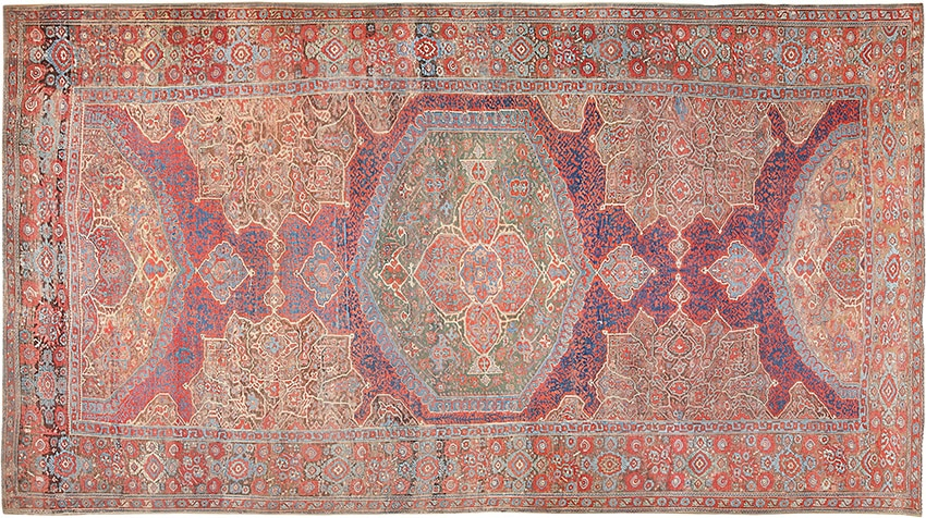 Turkish Antique Smyrna Oushak Middle East Carpets #47072 from Nazmiyal Antique Rugs in NYC