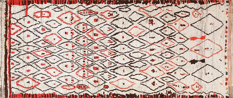 Red and Ivory Vintage Moroccan Rug - Nazmiyal