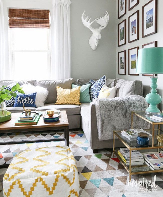 Interior With A Vintage Scandinavian Rug And A Grey Couch - Nazmiyal
