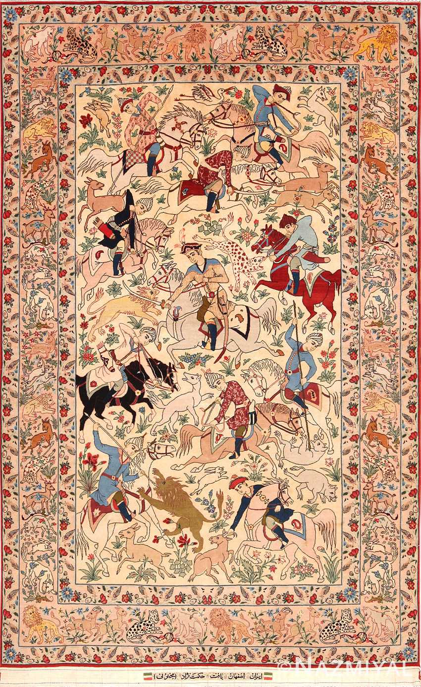 Fine Signed Vintage Persian Esfahan Rug With Hunting Scene 70017 by Nazmiyal